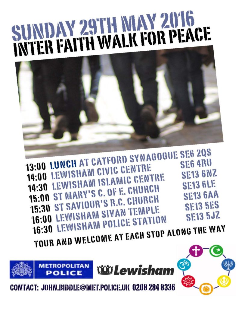 Lewisham Interfaith walk 2016